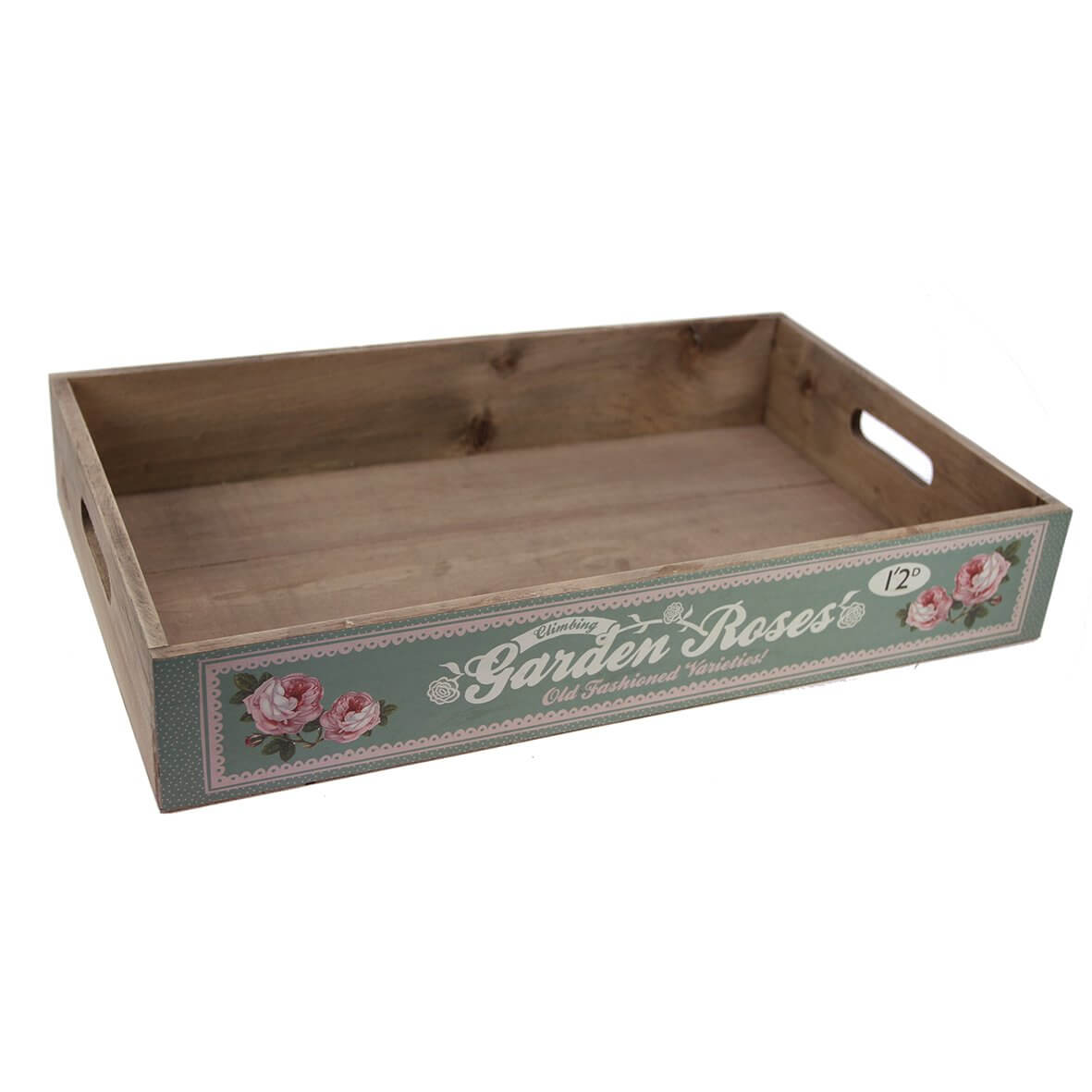 Garden Roses Rustic Wooden Tray