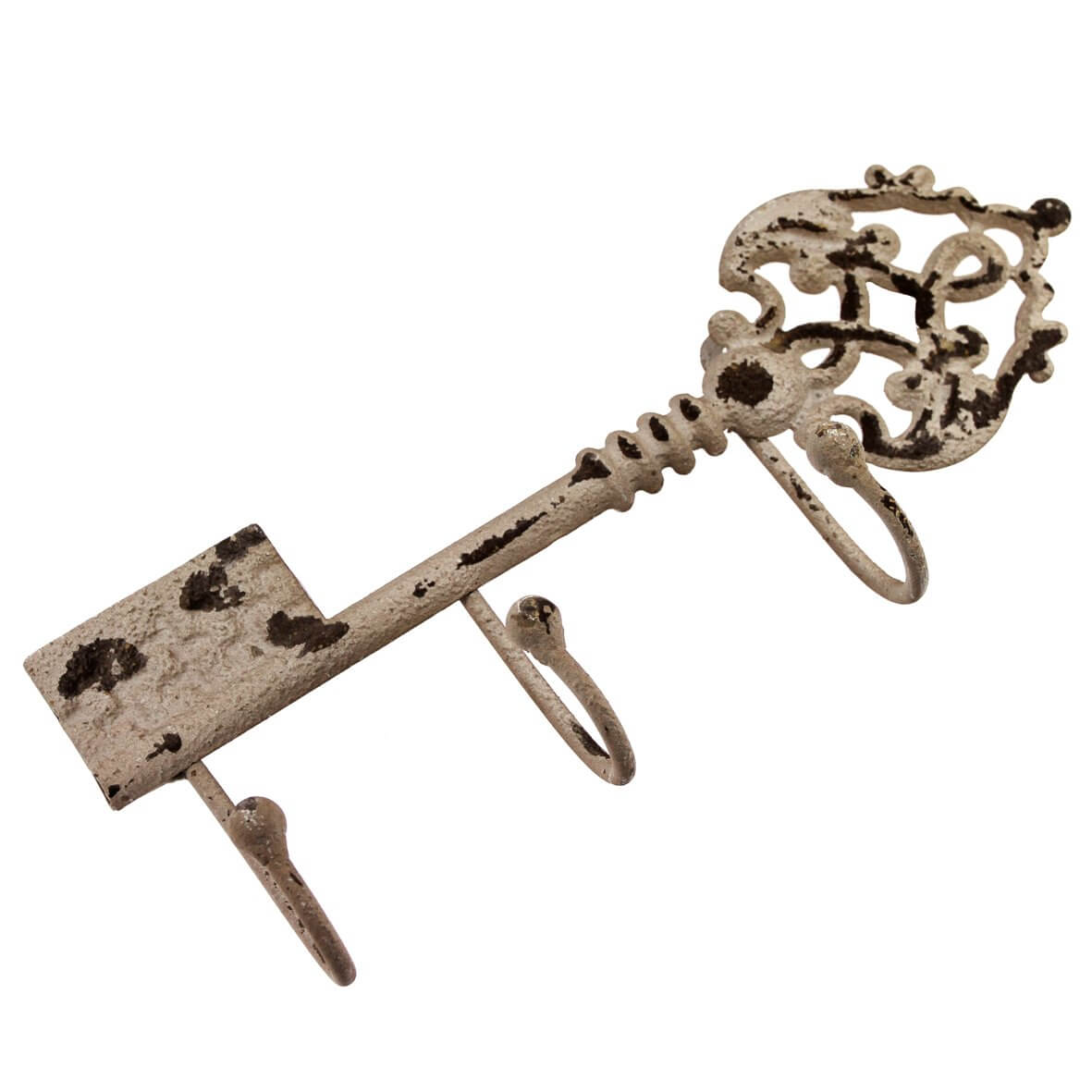 Distressed Metal Key with 3 Hooks