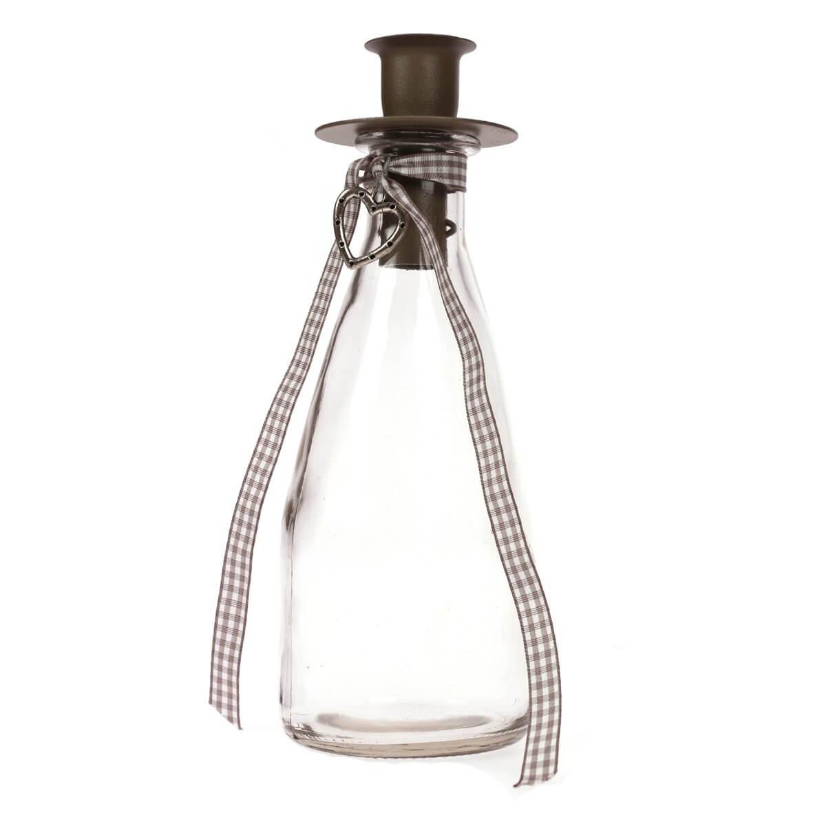 Vintage Heart Bottle Candle Holder