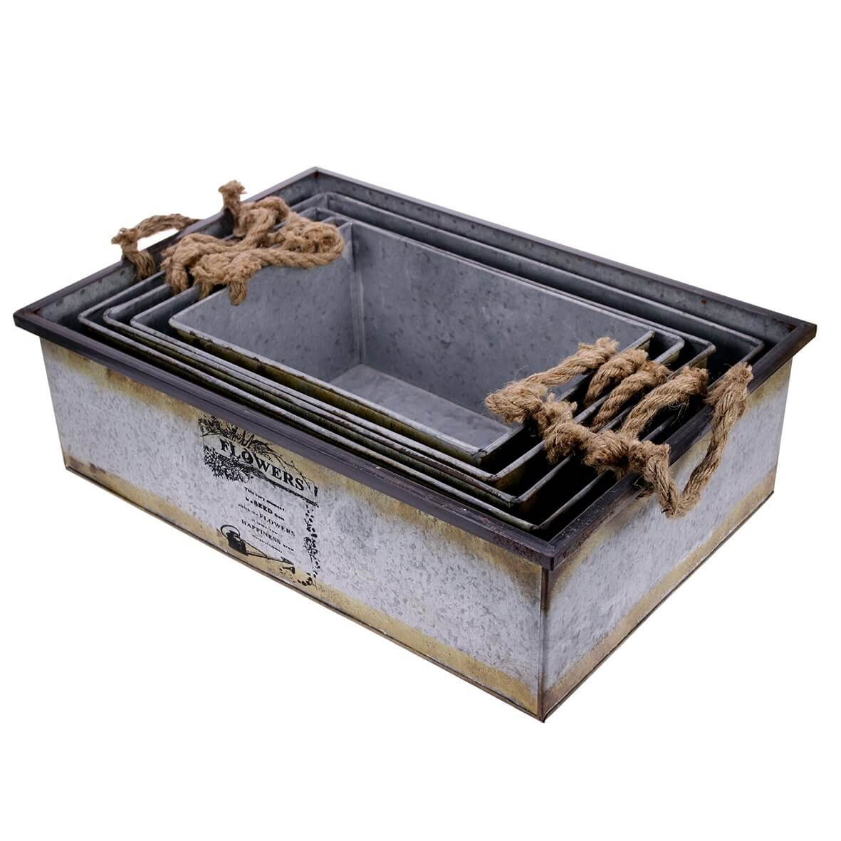Set of 5 Nesting Tin Crates with Rope Handles