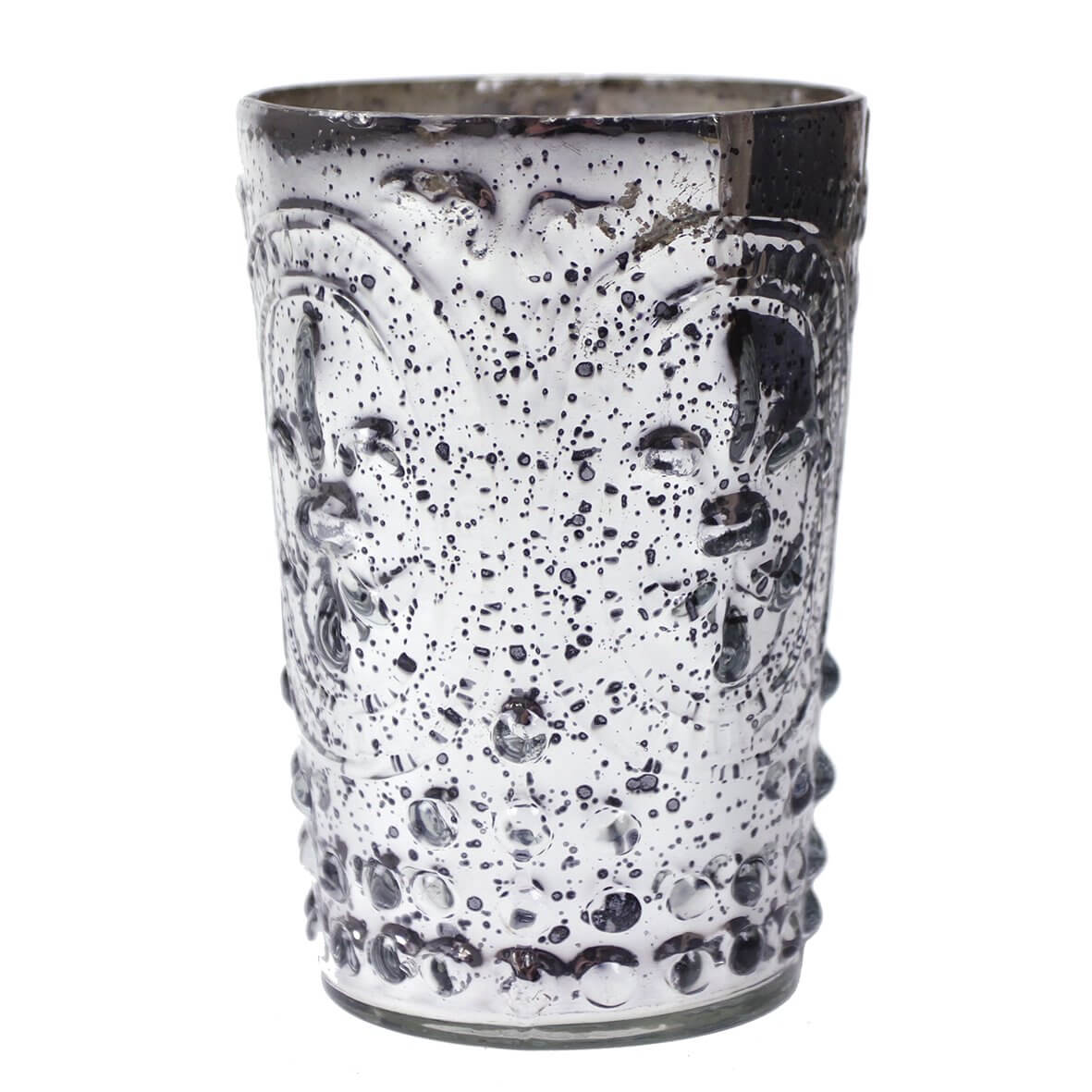 Silvered Glass 'Fleur de Lis' Tea Light Holder