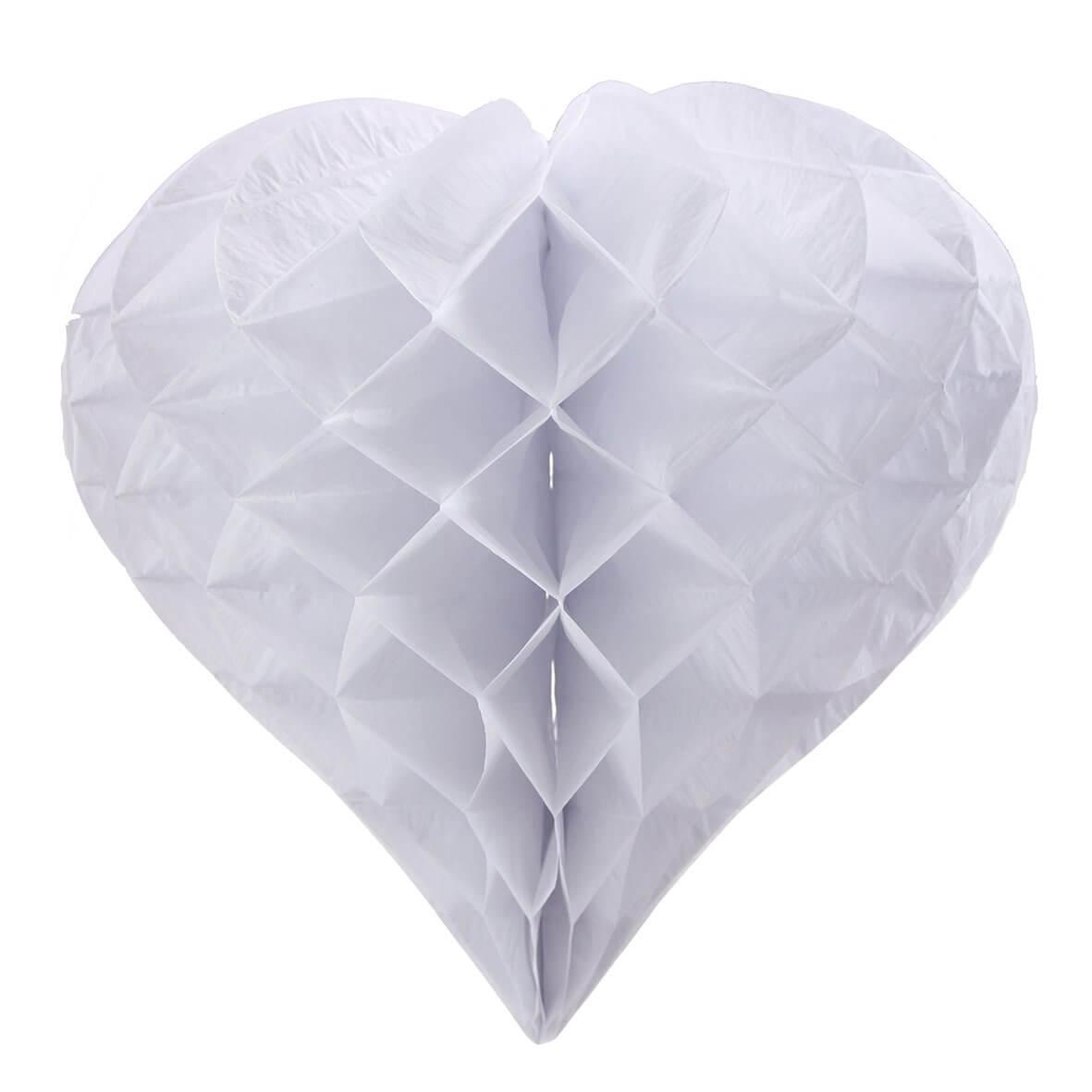 Large Heart-Shaped White Honeycomb Paper Decoration