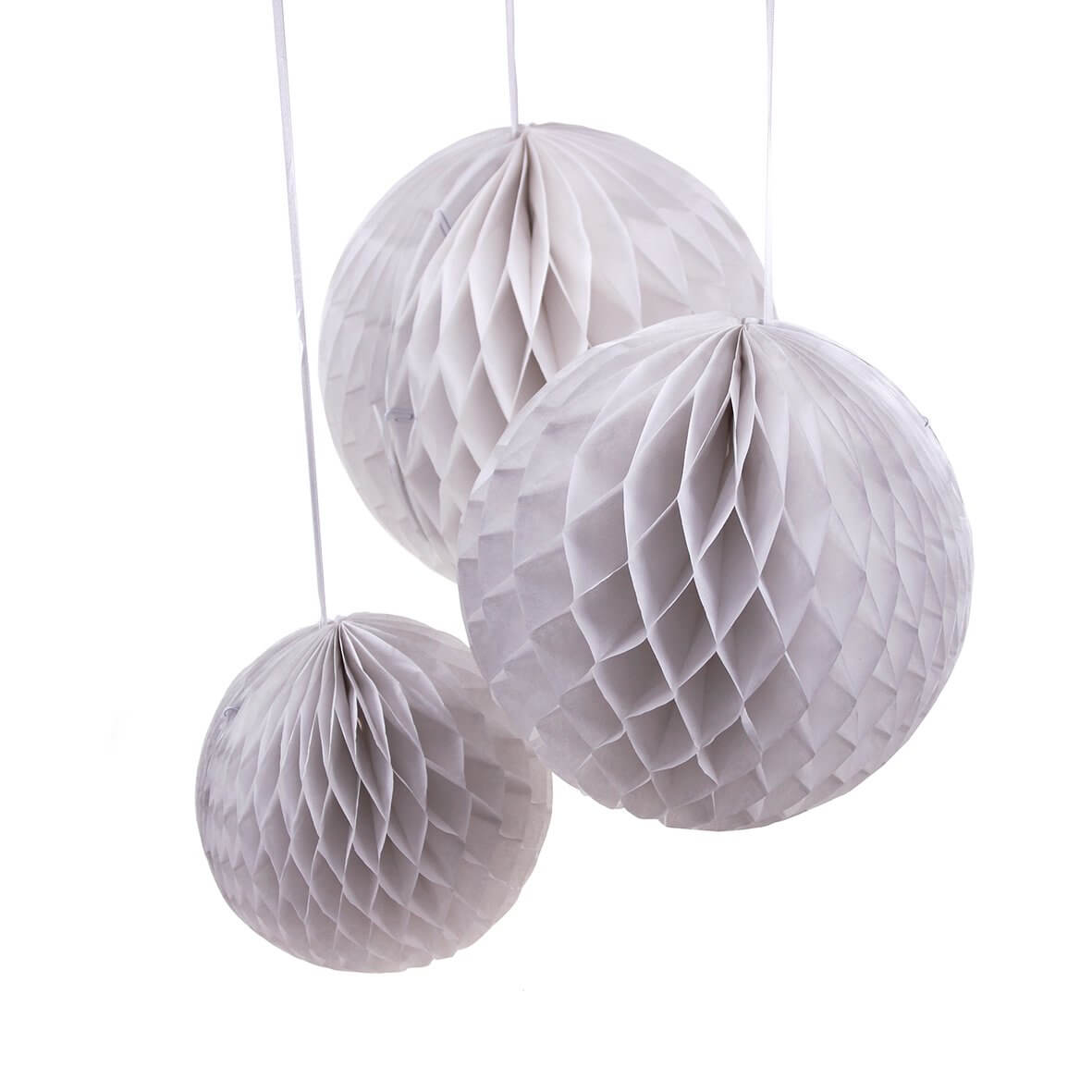 Round White (Set of 3 different sizes) Honeycomb Paper Decoration
