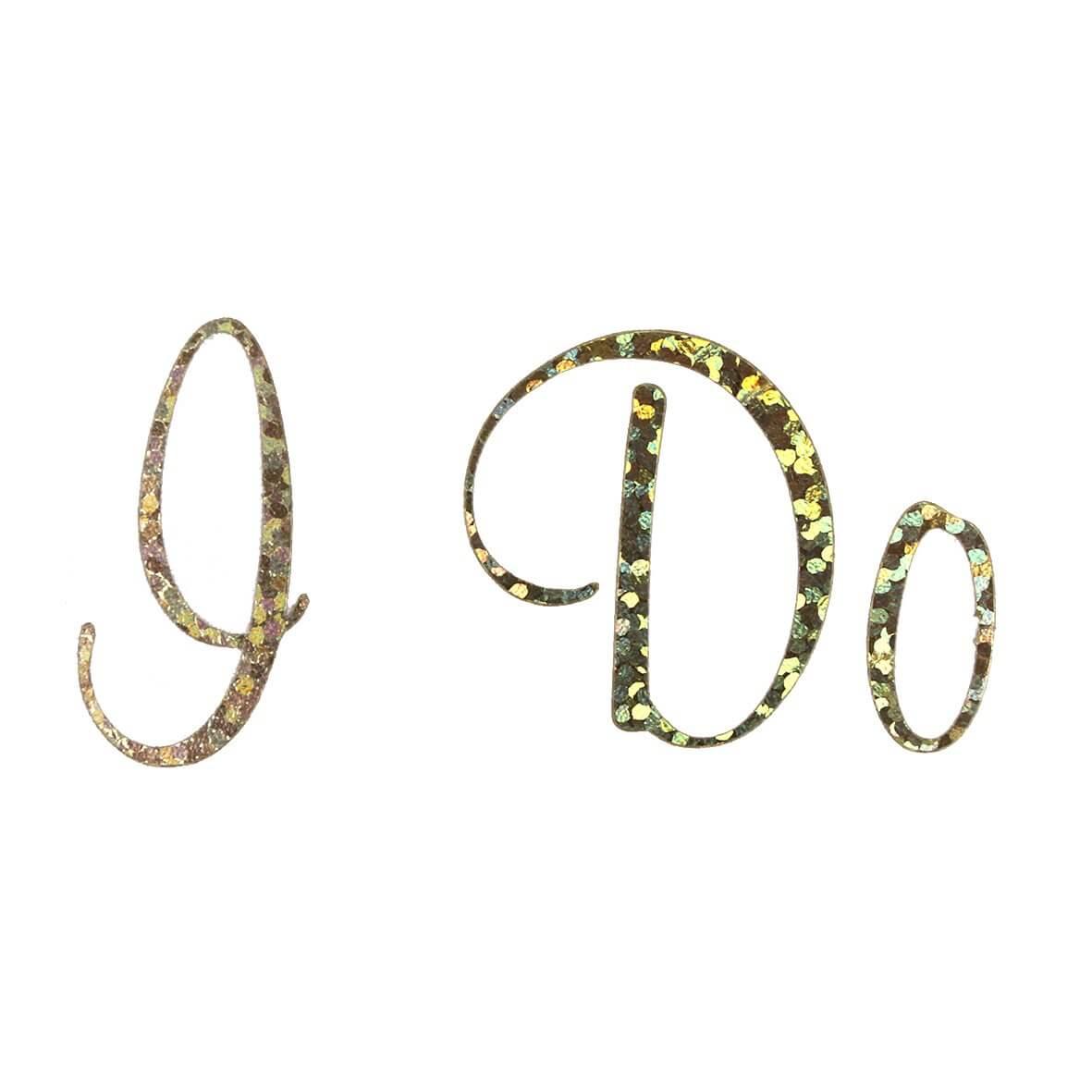 'I Do' Wedding Shoe Sticker Gold Sparkles