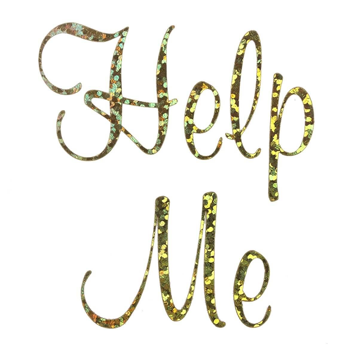 Help Me Wedding Shoe Sticker Gold Sparkles