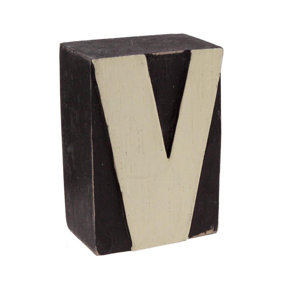 Wood block letter - V