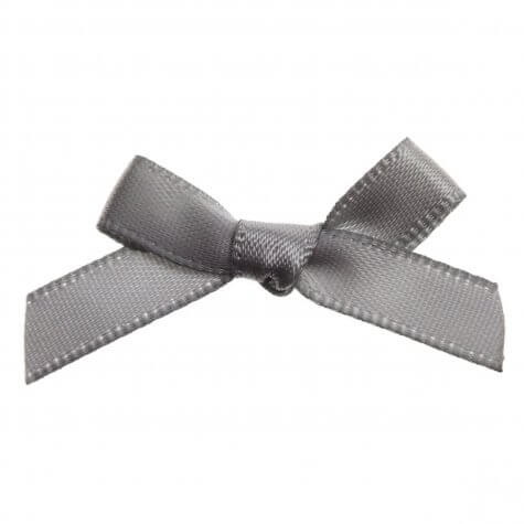 Silver Grey Ribbon Bows 7mm