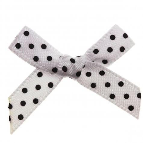 White Bow Black Polka Dot Ribbon Bows (7mm wide)