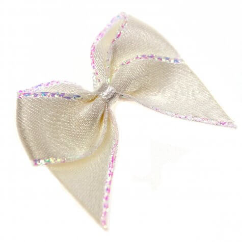 15mm Bridal White Satin Hand Tied Ribbon Bows with Iridescent Edge