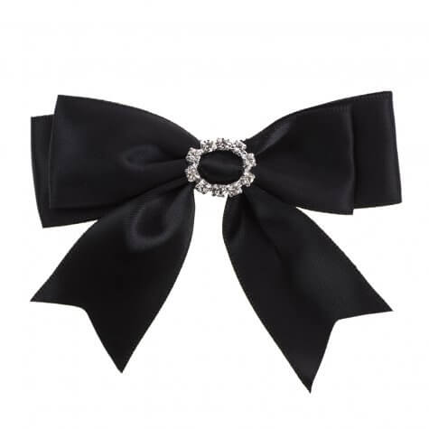 Black Ribbon Bows 25mm with Oval Diamante Buckle