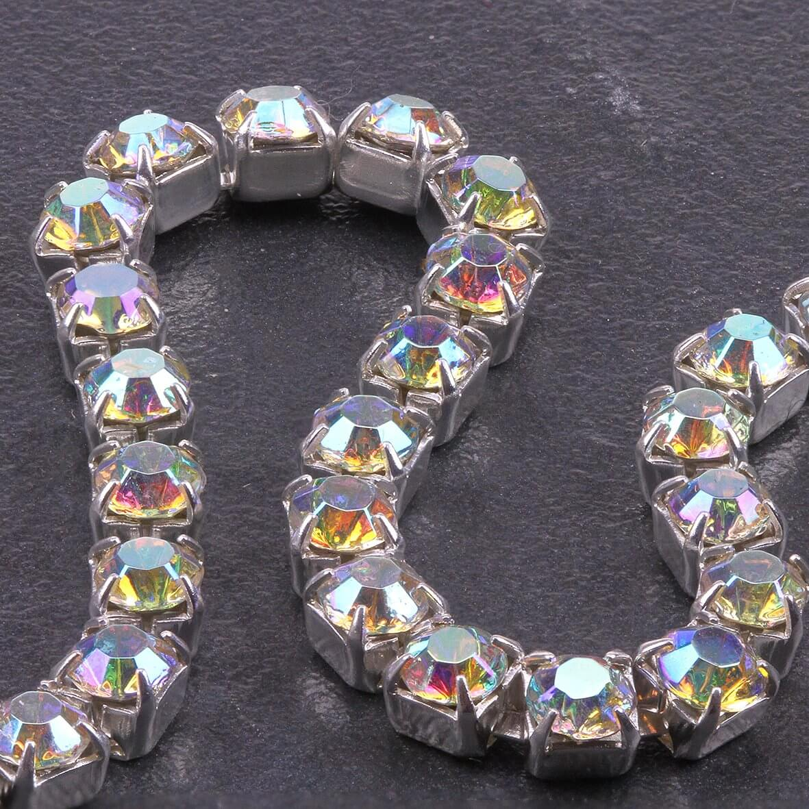 Single Row 4mm Diamante Trim (AB Crystals - Silver)