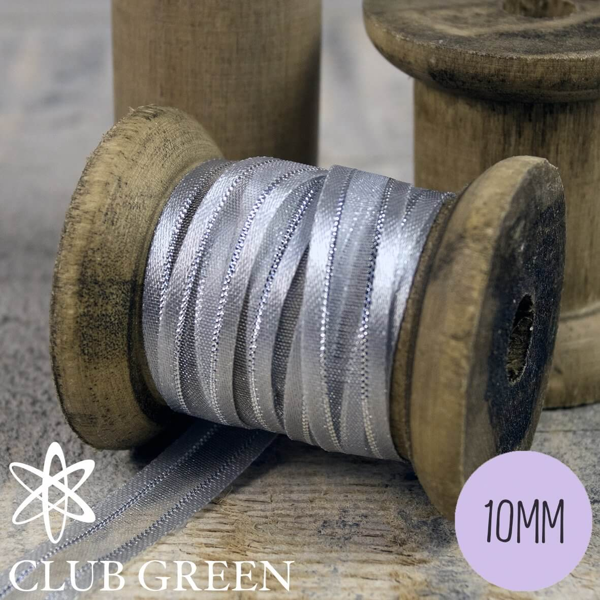 Club Green Organza Ribbon- Satin Edged with Metallic Thread - 10mm wide