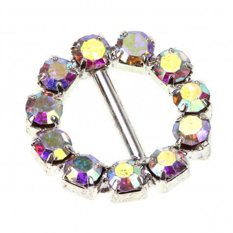 Crystal AB Circle Diamante Buckle (Small)
