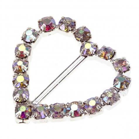Crystal AB Heart Diamante Buckle - Small Vertical Bar