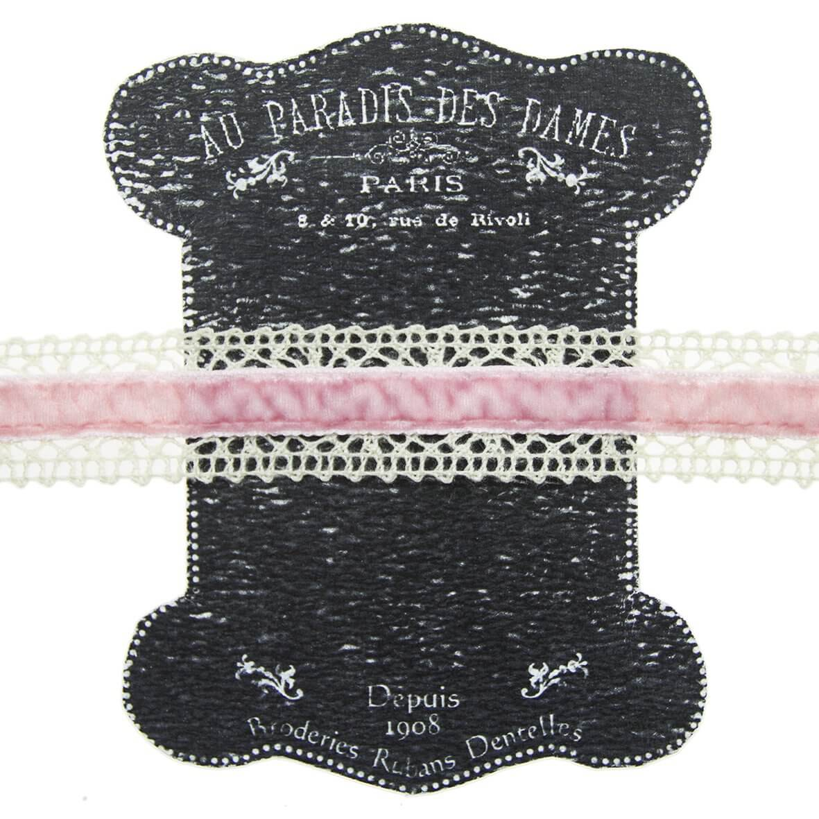 20mm Pink Ivory Lace and Velvet Trim on Display Lace Keeper