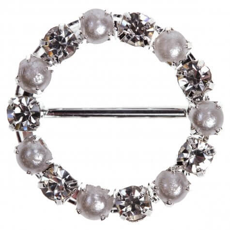 Circle Pearl and Diamante Buckle (Large)