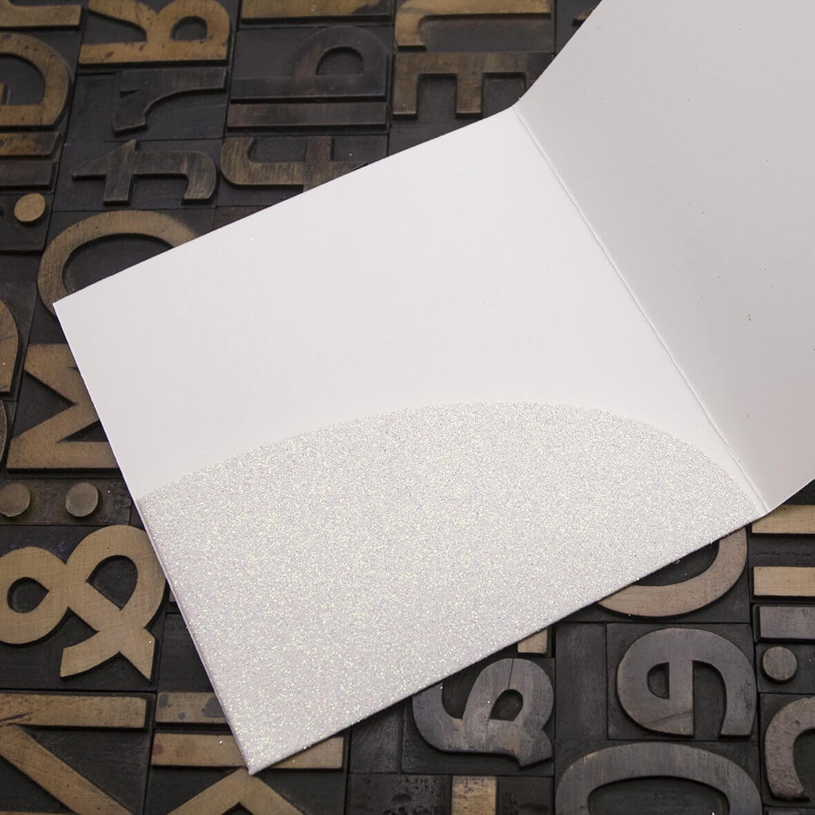 Enfolio Pocket Card - Iridescent White Glitter Card