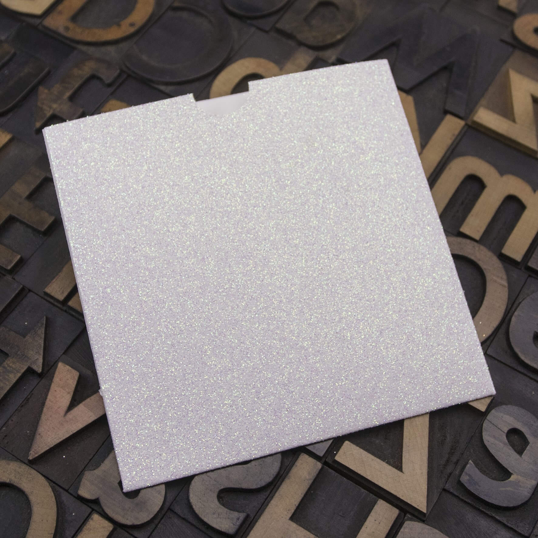 Enfolio Wallet 125mm Sq - Iridescent White Glitter Card