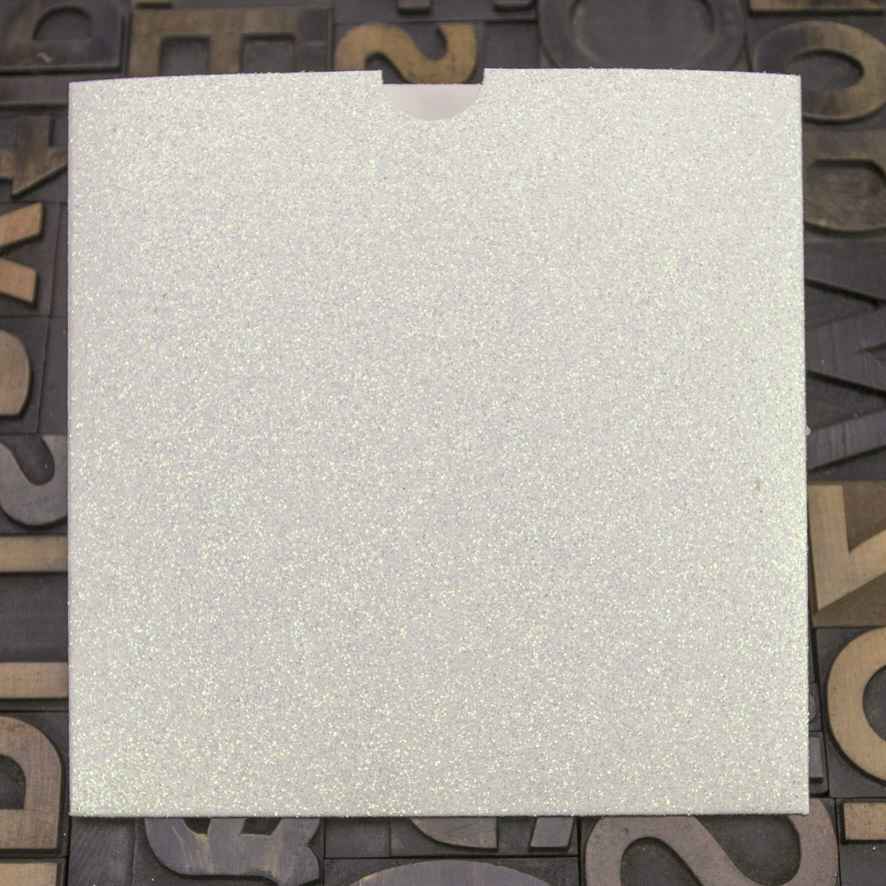 Enfolio Wallet 146mm Sq - Iridescent White Glitter Card