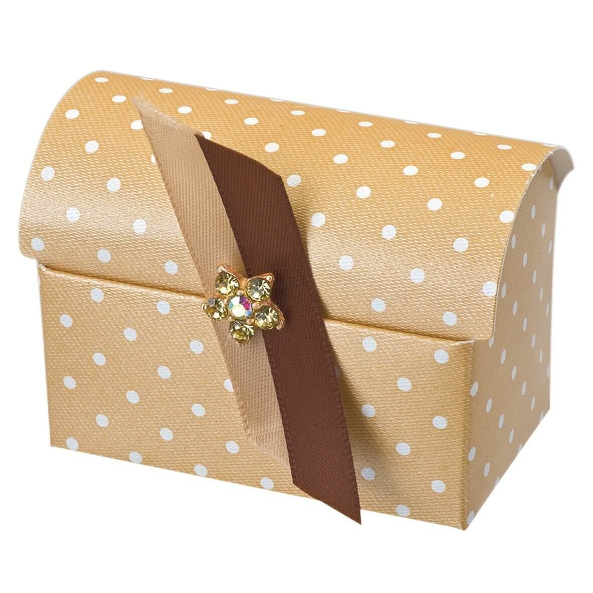 Coffee Polka Dot Chest Favour Box (Pack of 10)
