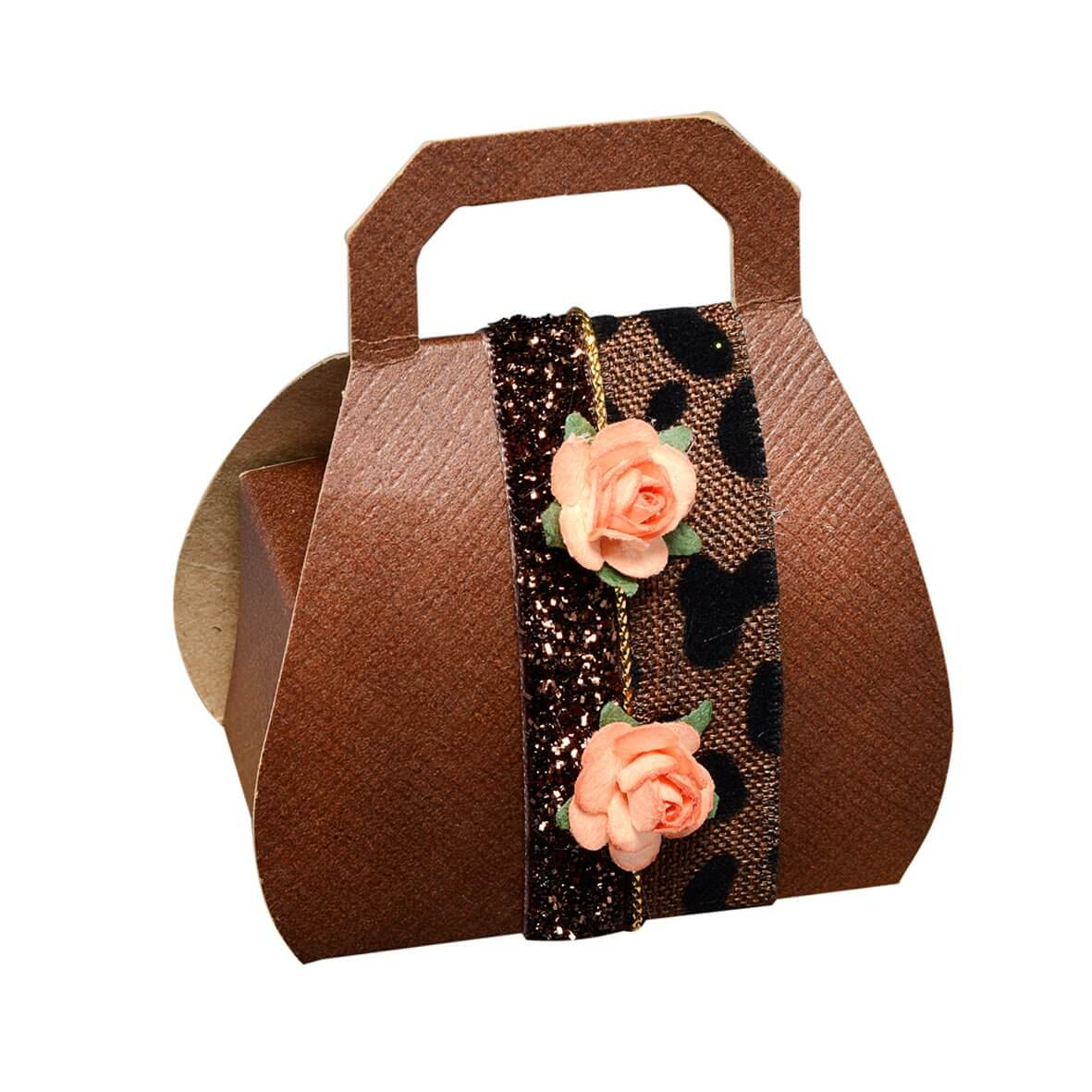 Brown Silk Handbag Favour Box (Pack of 10)