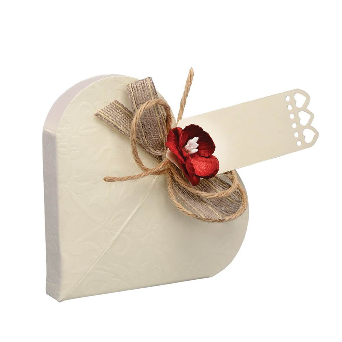 Diamante Heart Favour Box (Pack of 10)