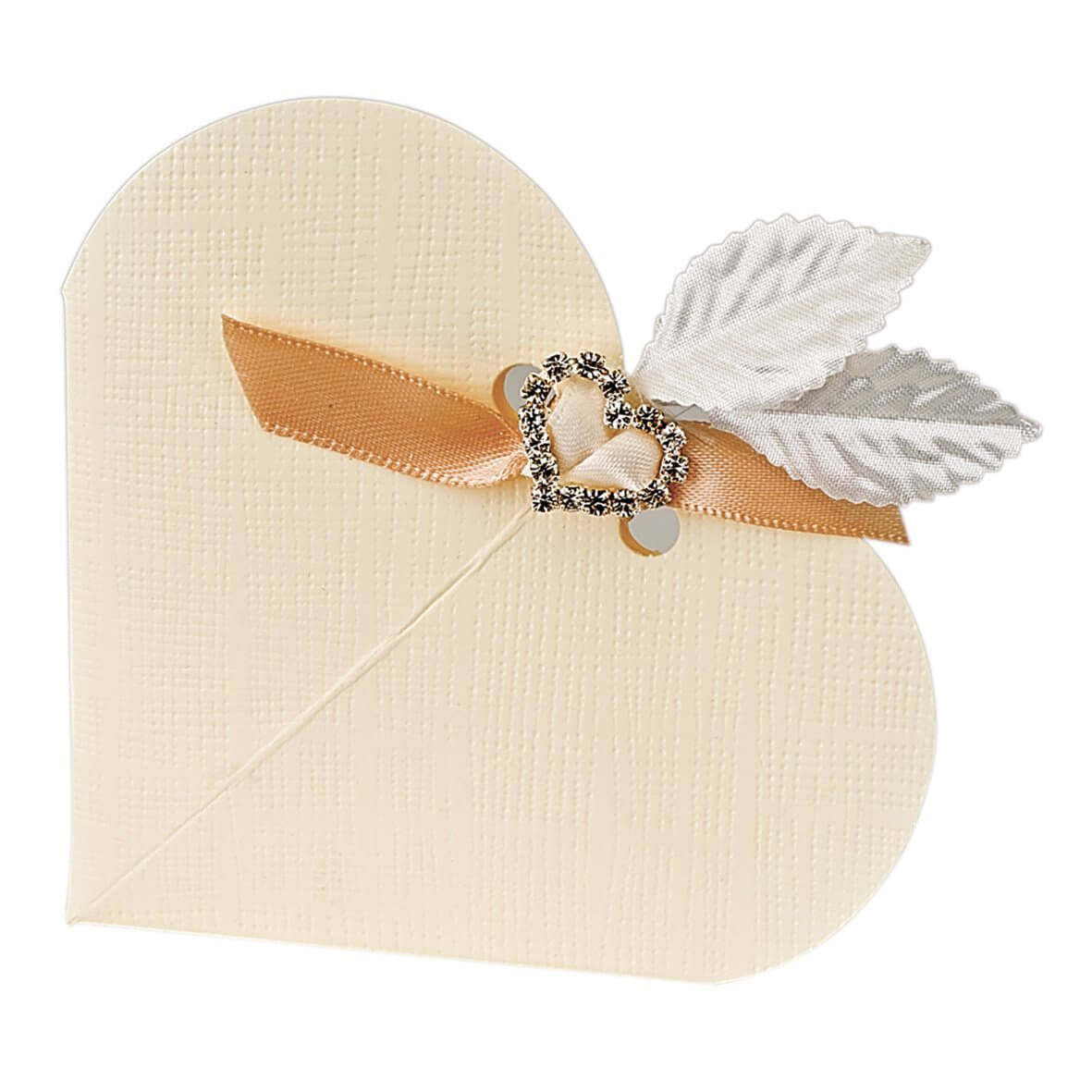 Ivory Silk* Heart Favour Box (Pack of 10)
