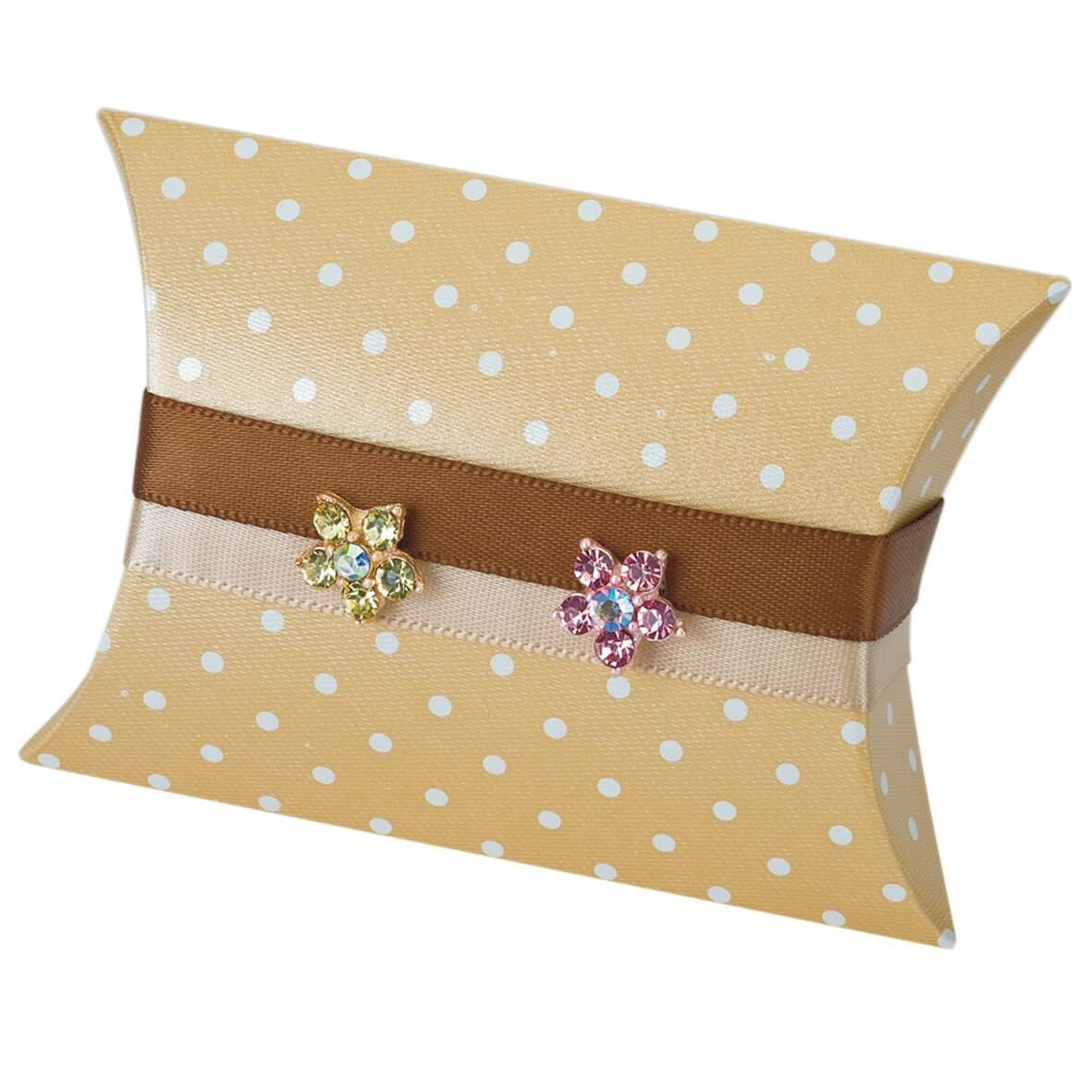 Coffee Polka Dot Pillow Favour Box (Pack of 10)