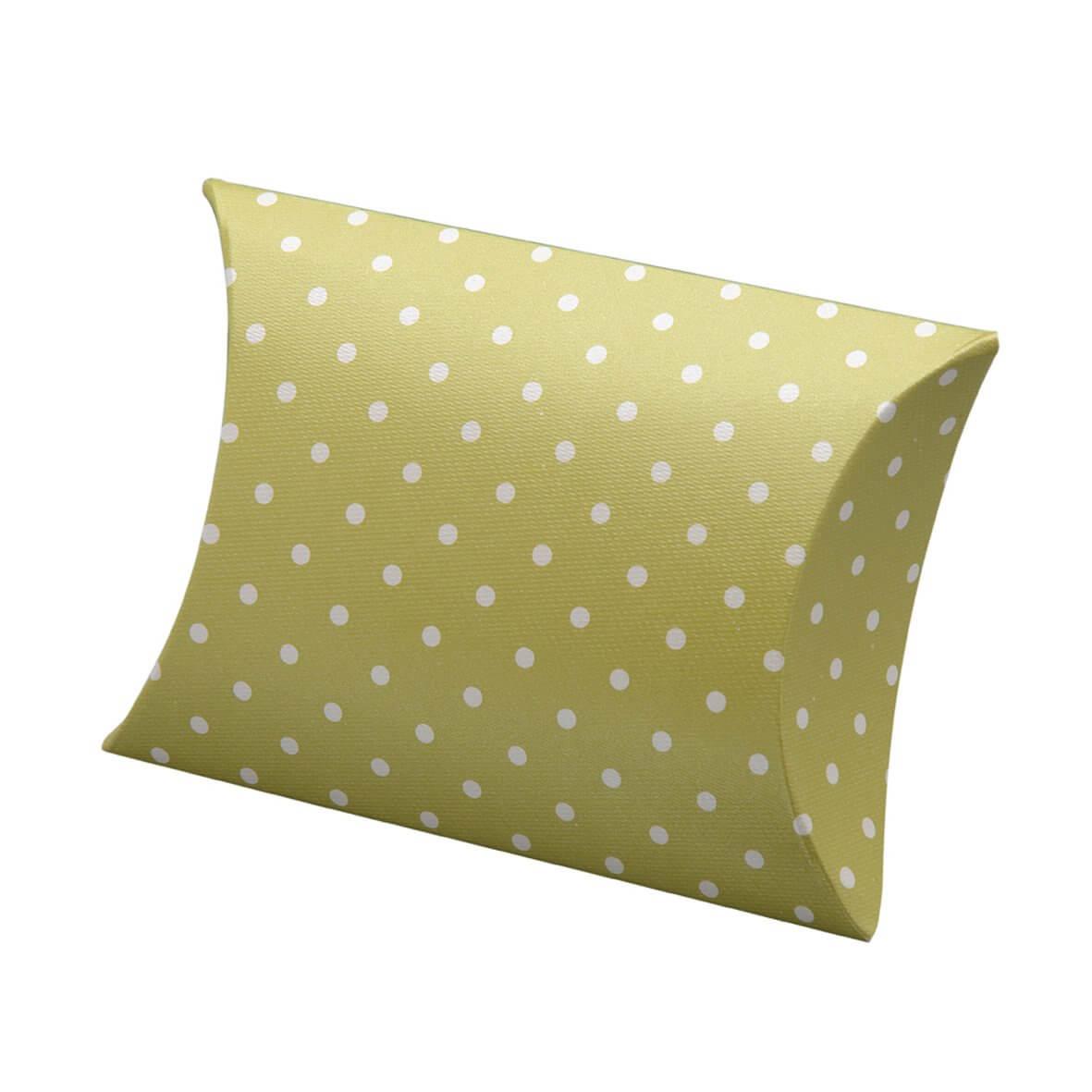 Moss Green Polka Dot Pillow Favour Box (Pack of 10)