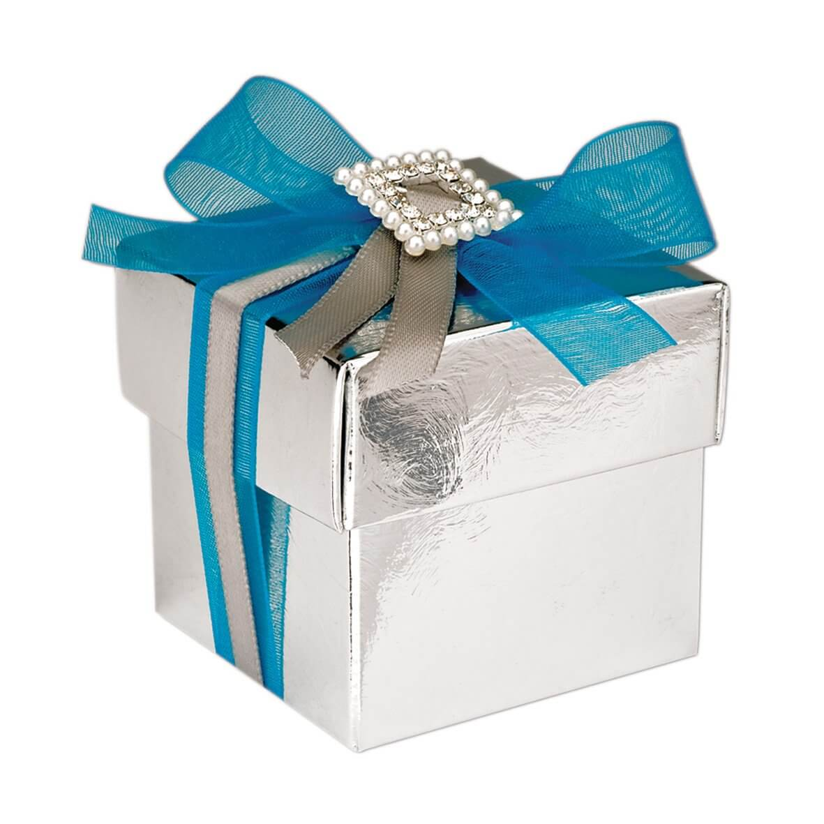 Silver Lari Square Favour Box (Pack of 10)