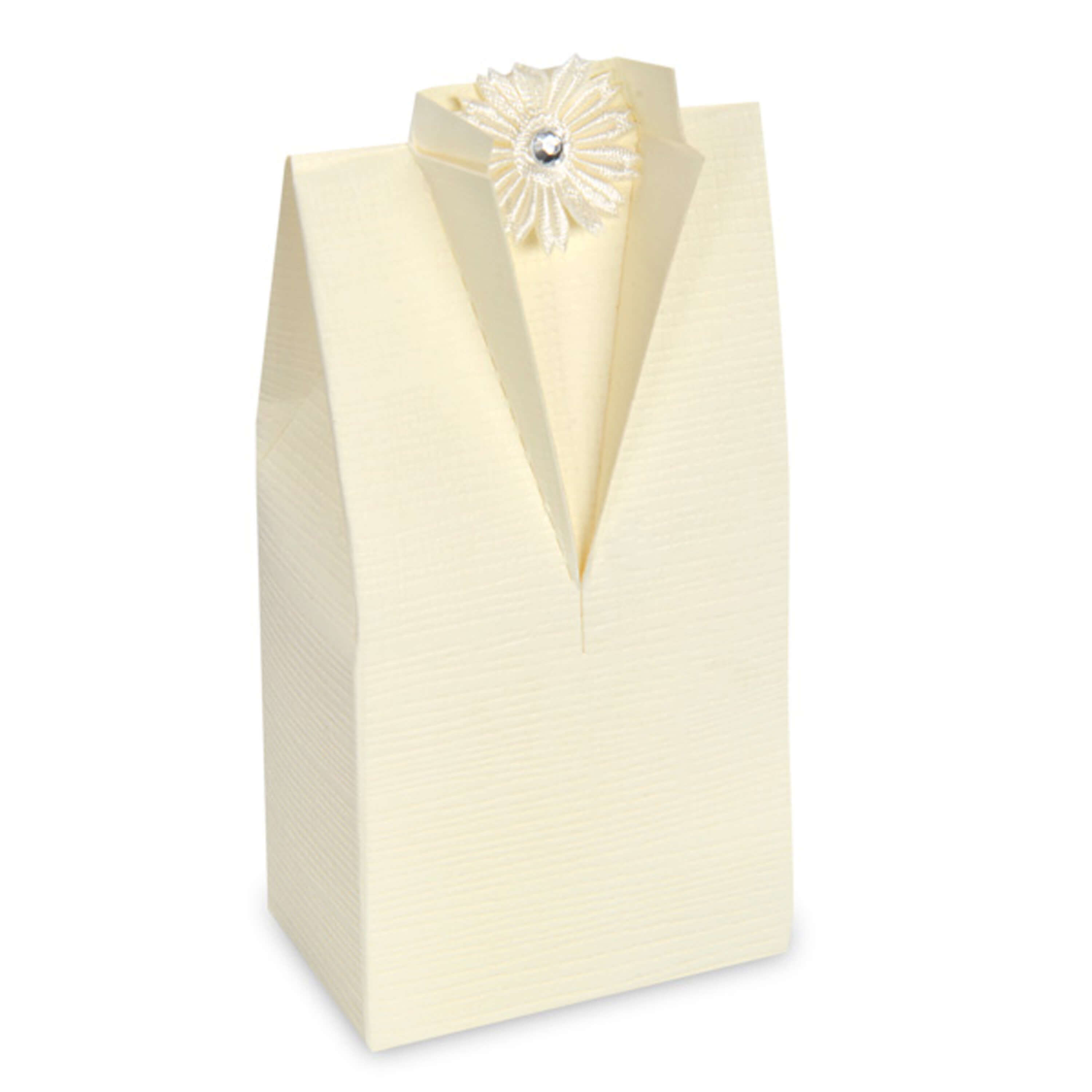 Ivory Silk* Tuxedo Favour Box (Pack of 10)