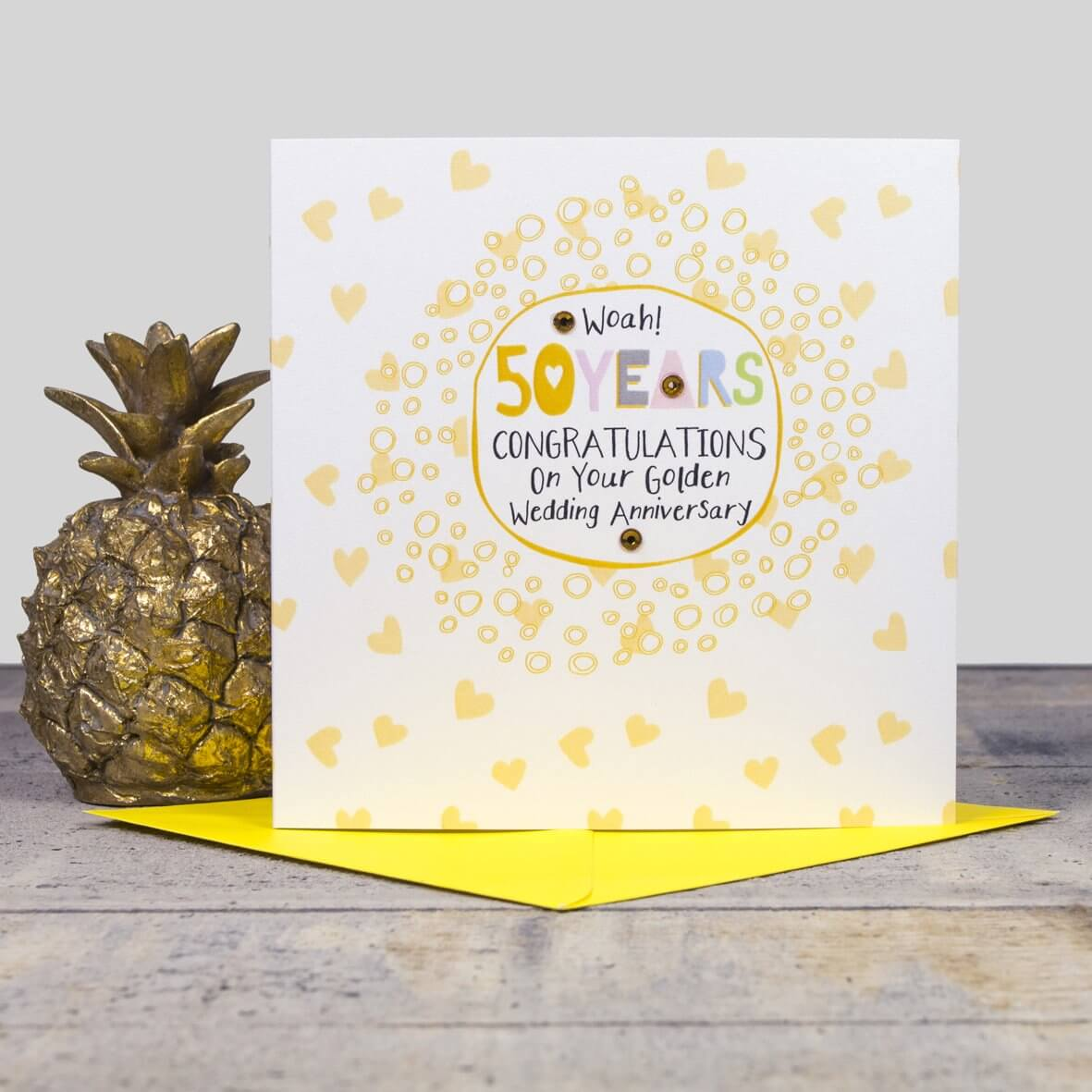 On Your 50th Wedding Anniversary Card - Golden