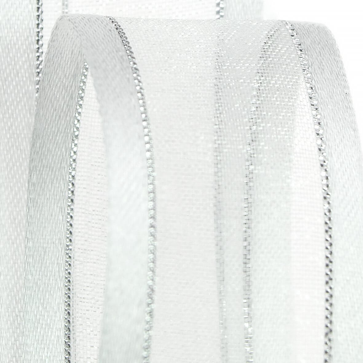 Club Green Organza Ribbon- Satin Edged with Metallic Thread - 23mm wide - White with Silver Thread - Zoom