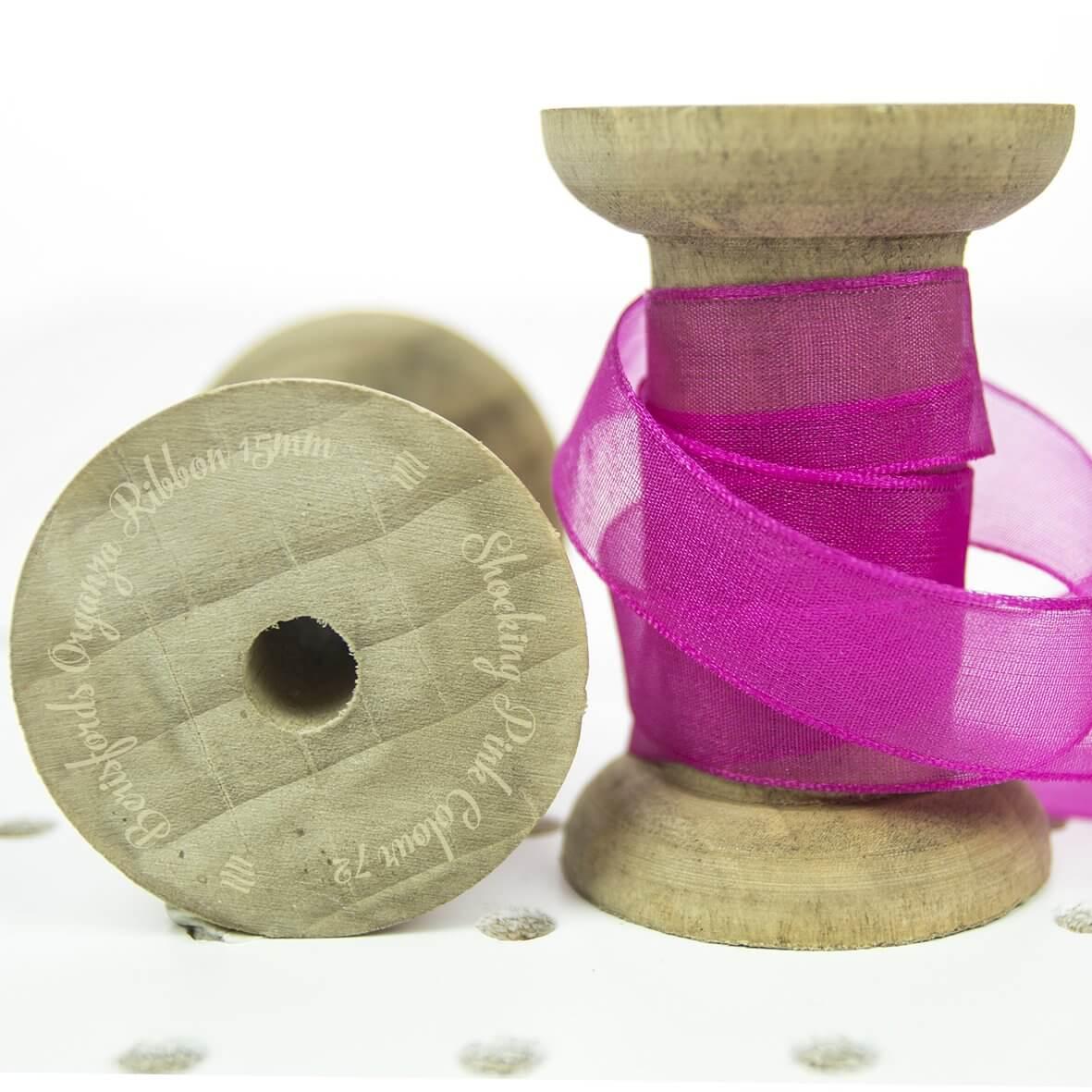 Berisfords Sheer Organza Ribbon 15mm - Shocking Pink Fuschia Colour 72 - Display Reel