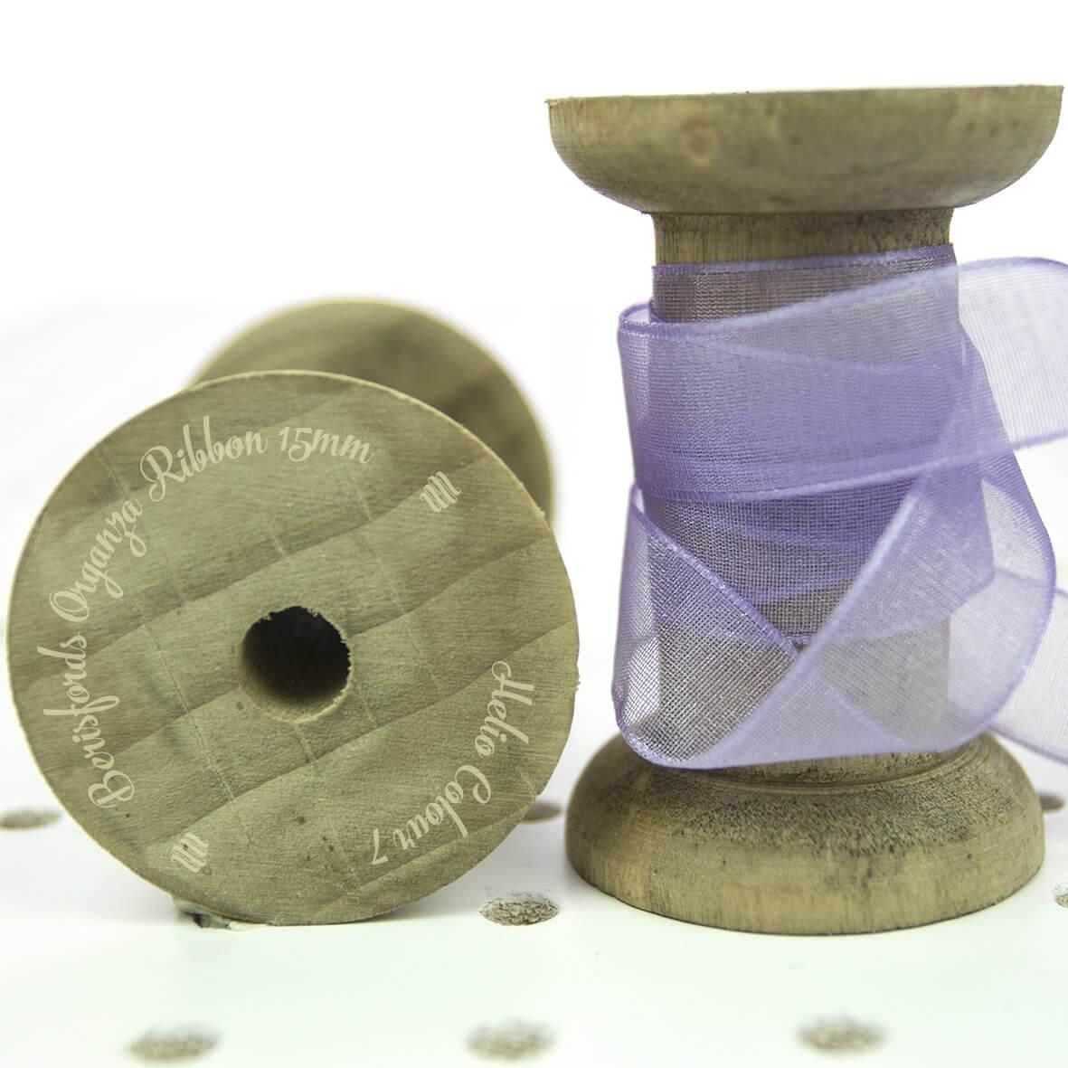 Berisfords Sheer Organza Ribbon 15mm - Helio Colour 7 - Display Reel