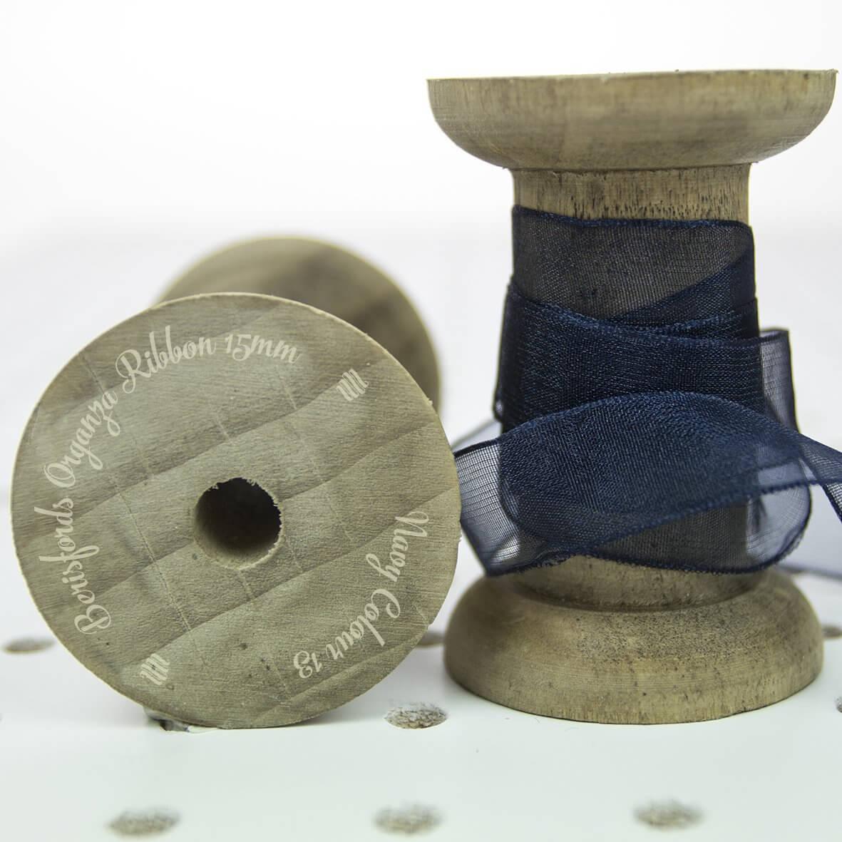 Berisfords Sheer Organza Ribbon 15mm - Navy Colour 13 - Display Reel