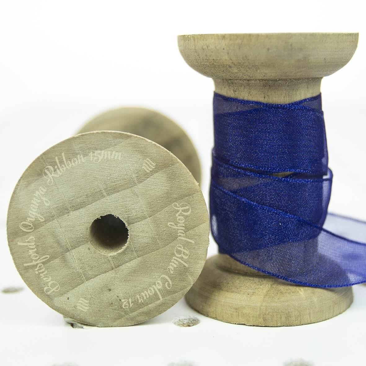 Berisfords Sheer Organza Ribbon 15mm - Royal Colour 12 - Display Reel
