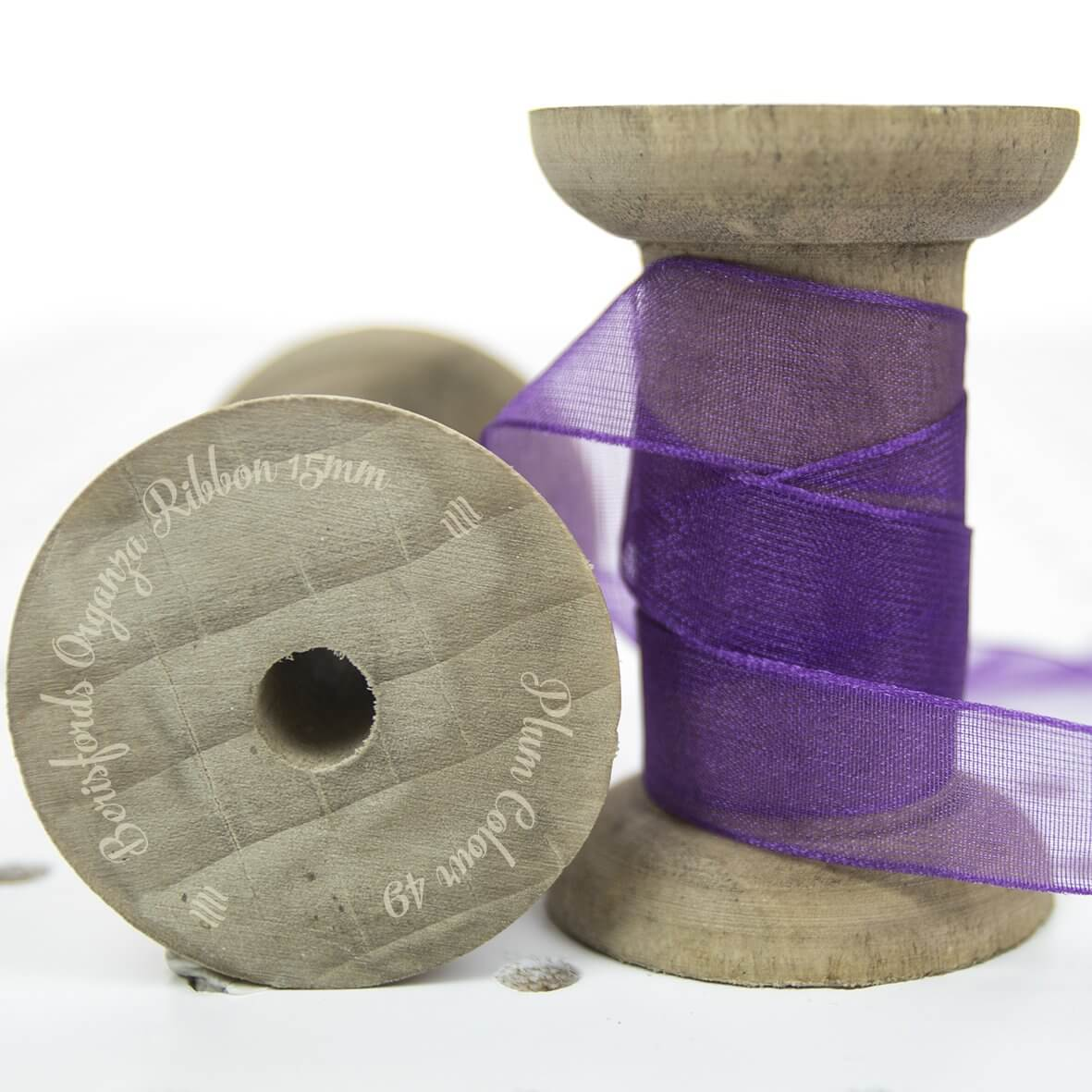 Berisfords Sheer Organza Ribbon 15mm - Plum Colour 49 - Display Reel