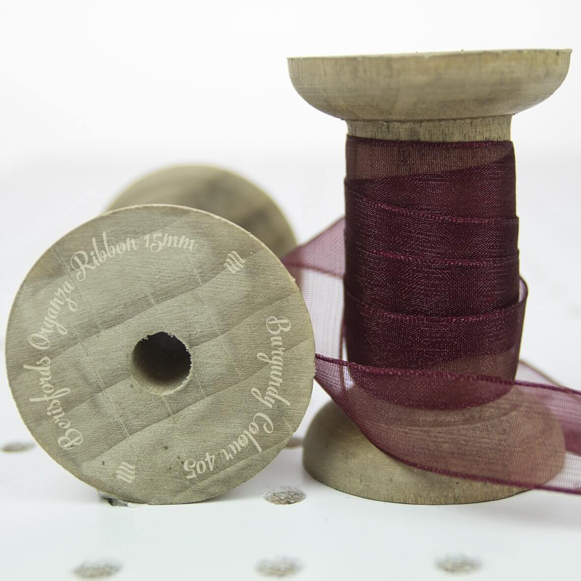 Berisfords Sheer Organza Ribbon 15mm - Burgundy Colour 405 - Display Reel