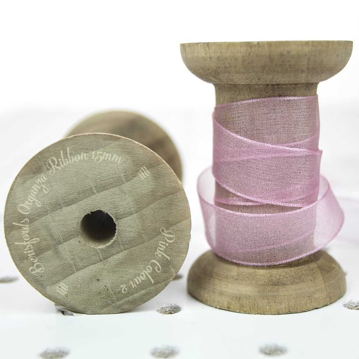 Berisfords Sheer Organza Ribbon 15mm - Pink Colour 2 - Display Reel