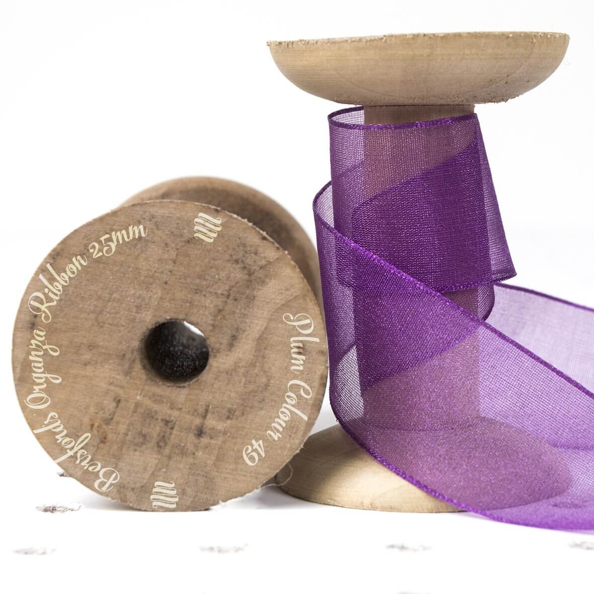 Plum Colour 49 - 25mm Berisfords Sheer Organza Ribbon - Display Reel