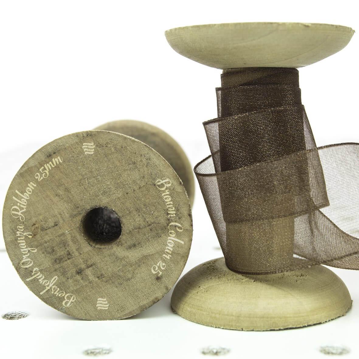 Brown Colour 25 - 25mm Berisfords Sheer Organza Ribbon - Display Reel