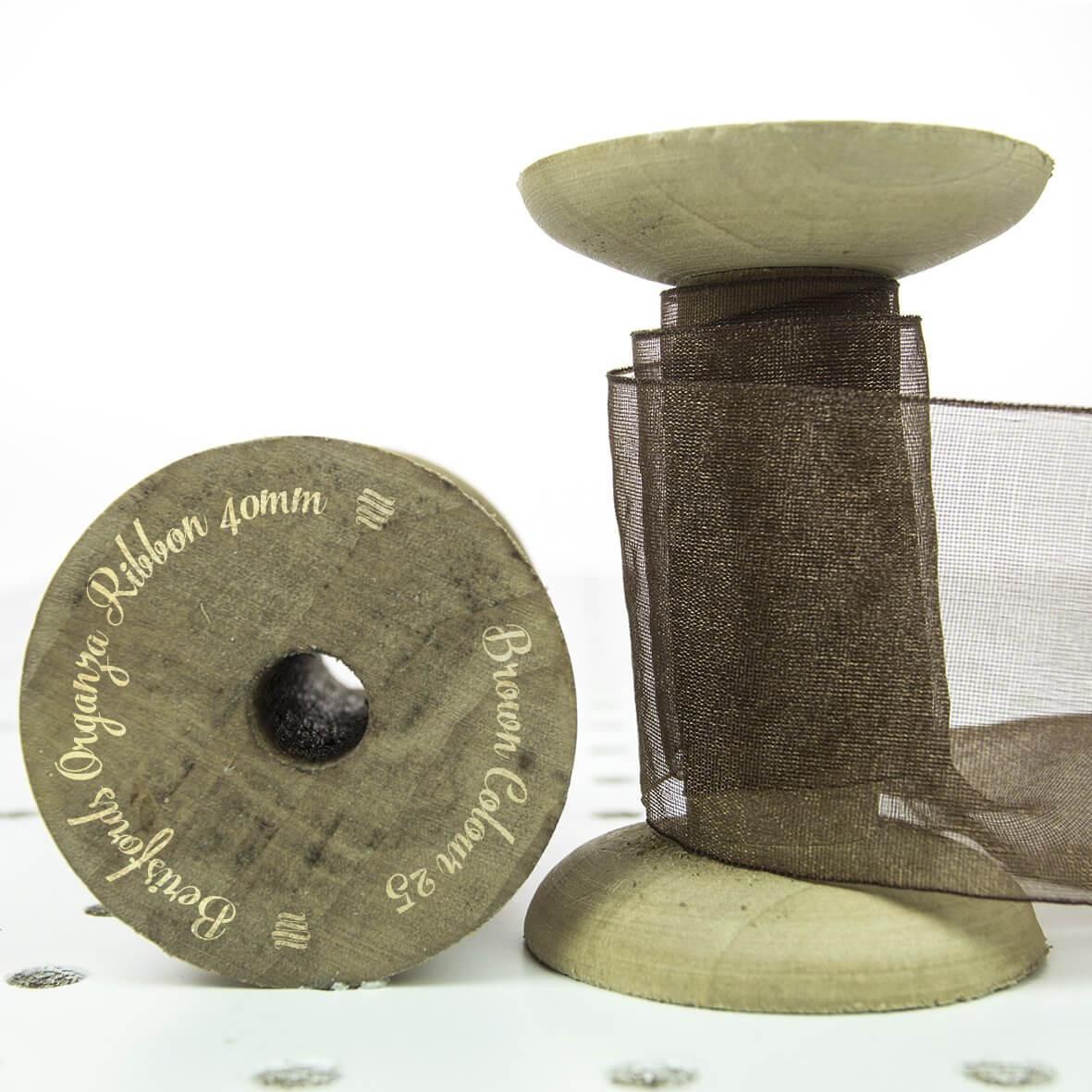 Berisfords Organza Ribbon 40mm - Brown Colour 25 - Display Reel