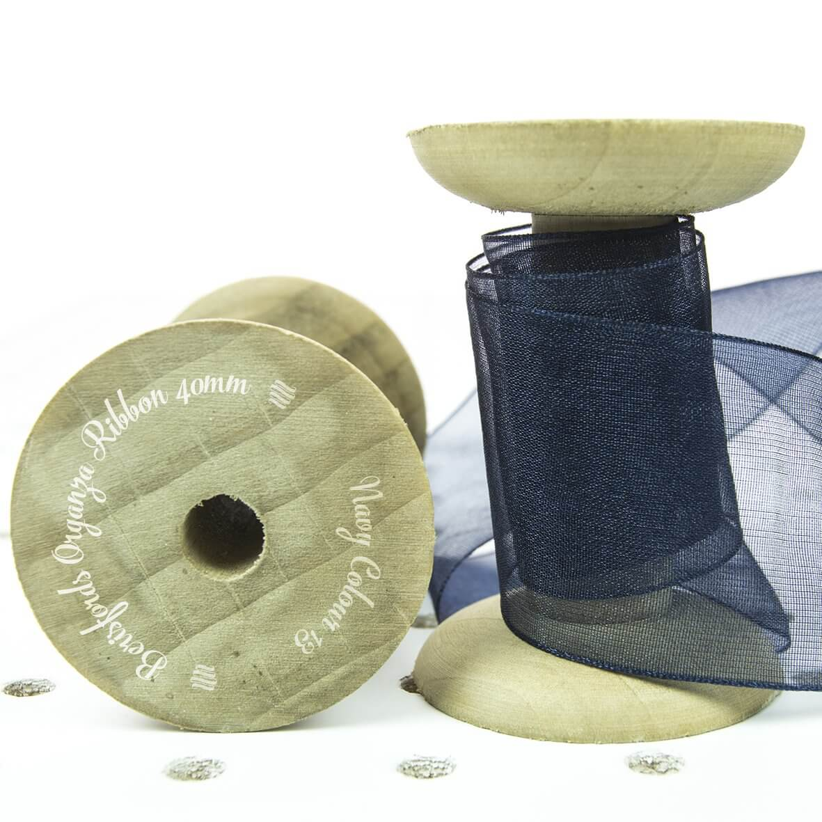 Berisfords Sheer Organza Ribbon 40mm - Navy Colour 13 - Display Reel