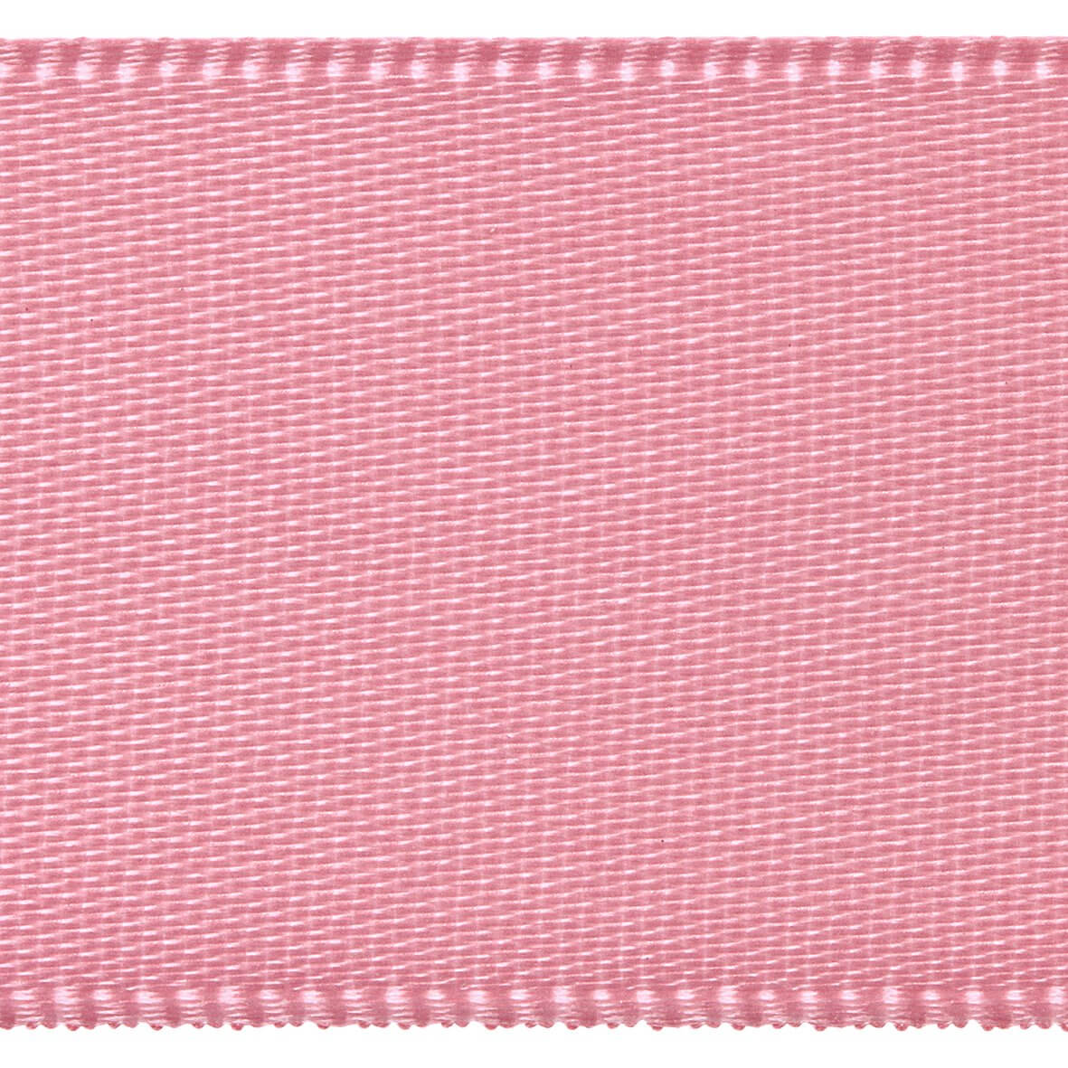 Rose Pink Club Green 15mm Double Faced Satin Ribbon