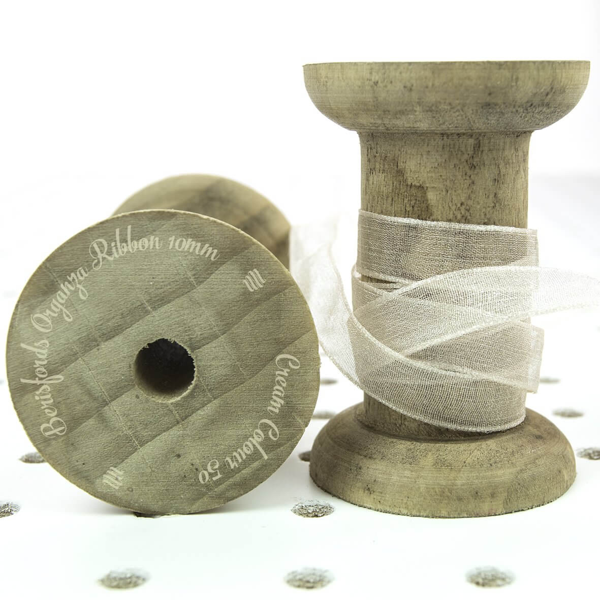 Berisfords Organza Ribbon 10mm - Cream Colour 50 - Display Reel