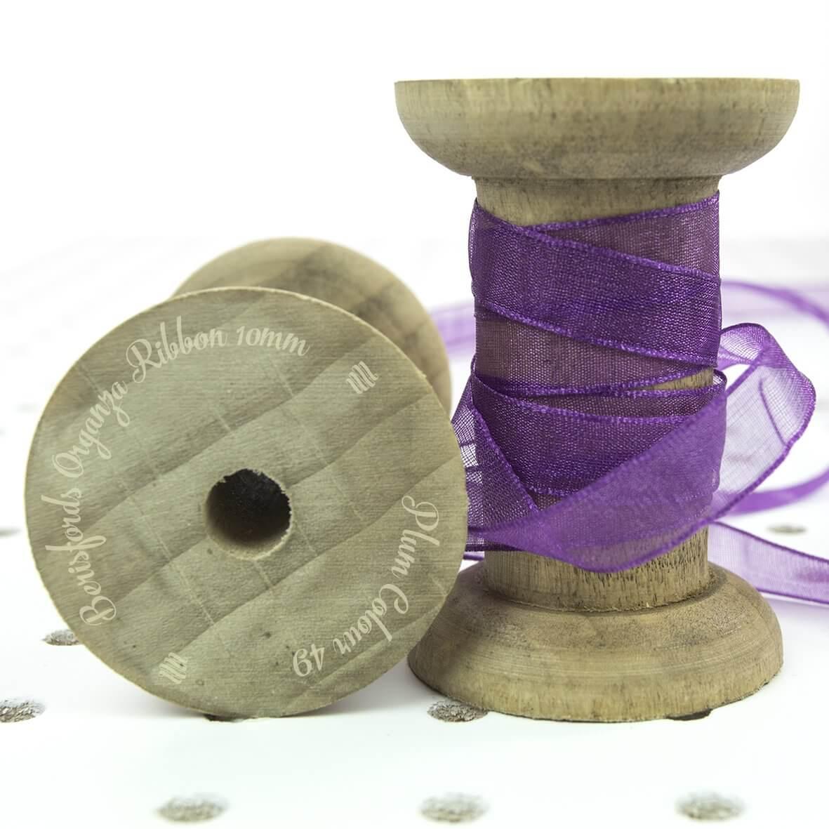 Berisfords Organza Ribbon 10mm - Plum Colour 49 - Display Reel