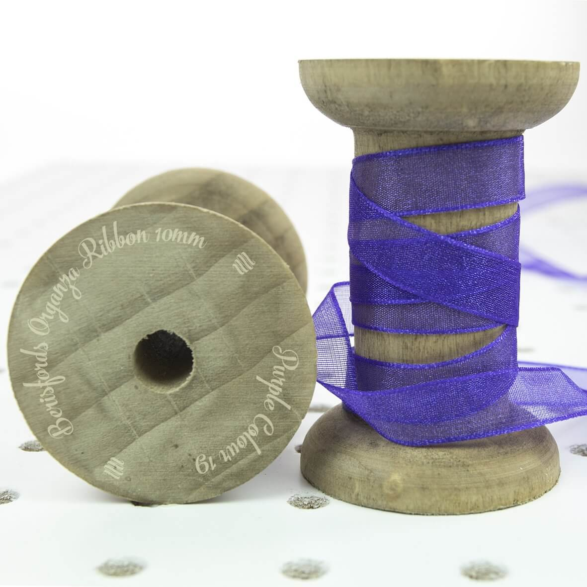 Berisfords Organza Ribbon 10mm - Purple Colour 19 - Display Reel