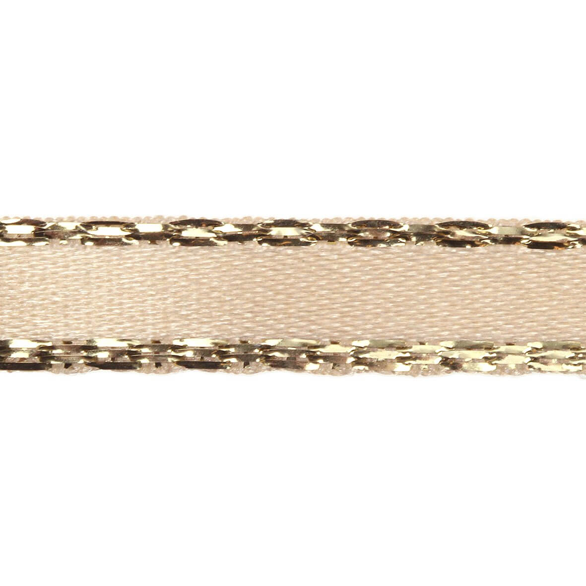 7mm Cream Colour 50 Gold Metallic Edge Ribbon