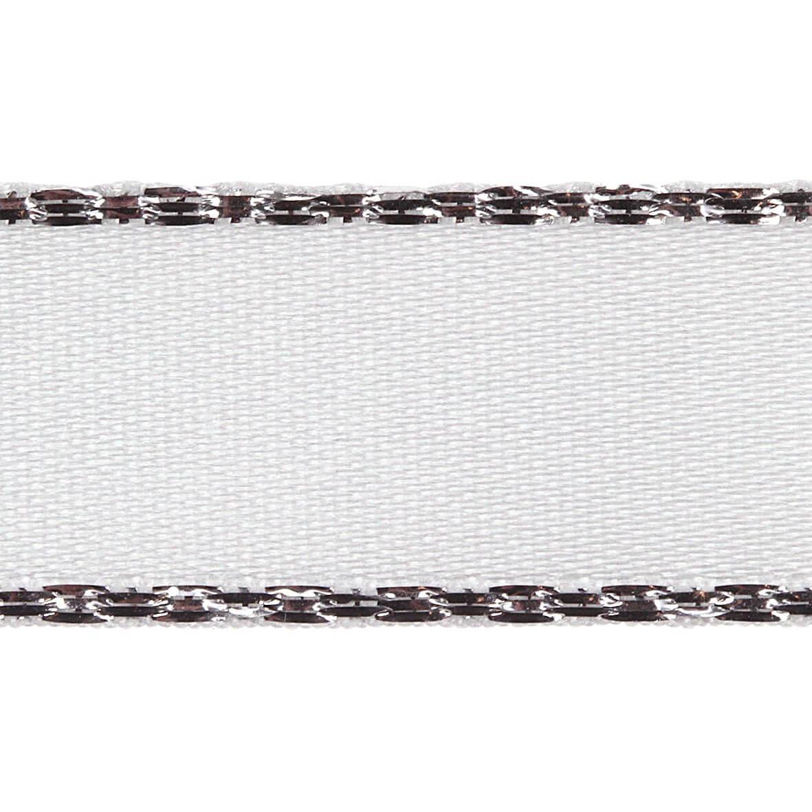 15mm White Colour 1 Silver Metallic Edge